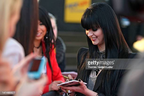 Singer Ria of German band Eisblume arrives at 'The Dome 61' at the RheinMainTheater on March 16 2012 in Wiesbaden Germany