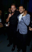 Singer Ricky Martin and Draco Rosa backstage during The 14th Annual Latin GRAMMY Awards at the Mandalay Bay Events Center on November 21 2013 in Las...