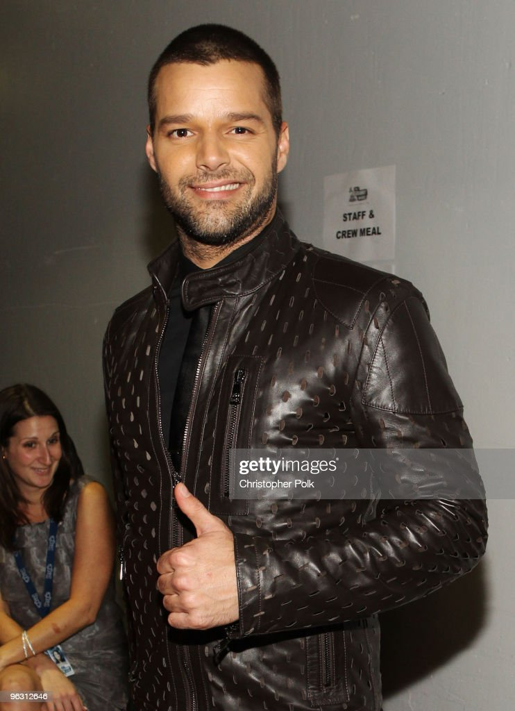 Singer <a gi-track='captionPersonalityLinkClicked' href=/galleries/search?phrase=Ricky+Martin&family=editorial&specificpeople=160450 ng-click='$event.stopPropagation()'>Ricky Martin</a> backstage during the 52nd Annual GRAMMY Awards held at Staples Center on January 31, 2010 in Los Angeles, California.