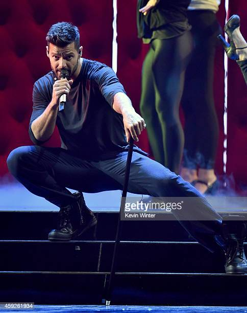 Singer Ricky Martin performs onstage during rehearsals for the 15th annual Latin GRAMMY Awards at the MGM Grand Garden Arena on November 19 2014 in...