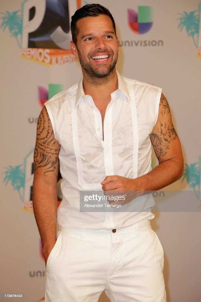 Singer Ricky Martin poses in the press room during the Premios Juventud 2013 at Bank United Center on July 18, 2013 in Miami, Florida.