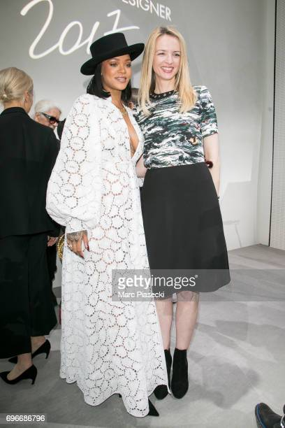 Singer Rihanna and Delphine Arnault attend the 'Young Fashion Designer' LVMH Prize 2017 edition at Fondation Louis Vuitton on June 16 2017 in Paris...