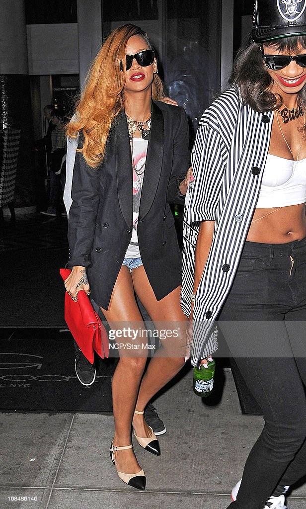 Singer <a gi-track='captionPersonalityLinkClicked' href=/galleries/search?phrase=Rihanna&family=editorial&specificpeople=453439 ng-click='$event.stopPropagation()'>Rihanna</a> and friend Melissa Forde is seen on May 9, 2013 in New York City.