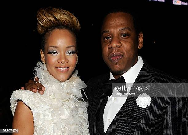 Singer Rihanna and JayZ in the audience during the 52nd Annual GRAMMY Awards held at Staples Center on January 31 2010 in Los Angeles California