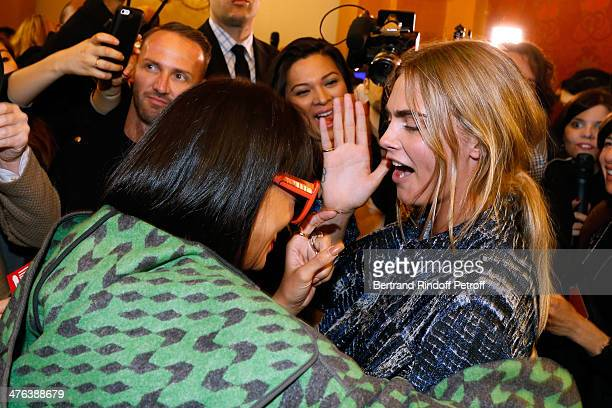 Singer Rihanna and model Cara Delevingne pose backstage after the Stella McCartney show as part of the Paris Fashion Week Womenswear Fall/Winter...