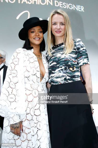 Singer Rihanna and President of the Jury of the Prize Louis Vuitton's executive vice president Delphine Arnault attend the 'Young Fashion Designer'...