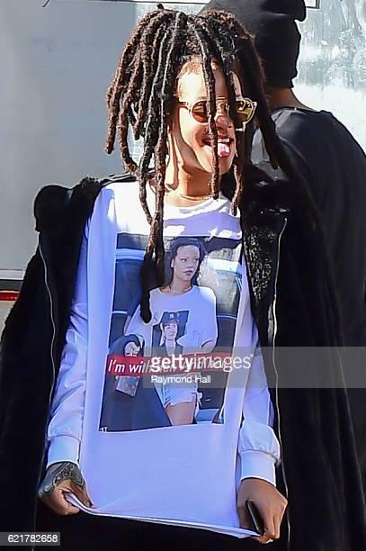 Singer Rihanna arrived on 'Ocean Eight' set wearing a Hillary Clinton tshirt on November 8 2016 Brooklyn borough of New York City