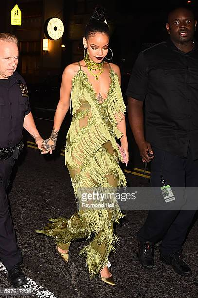Singer Rihanna arrives at Club Up And Down in Sohoon August 28 2016 in New York City