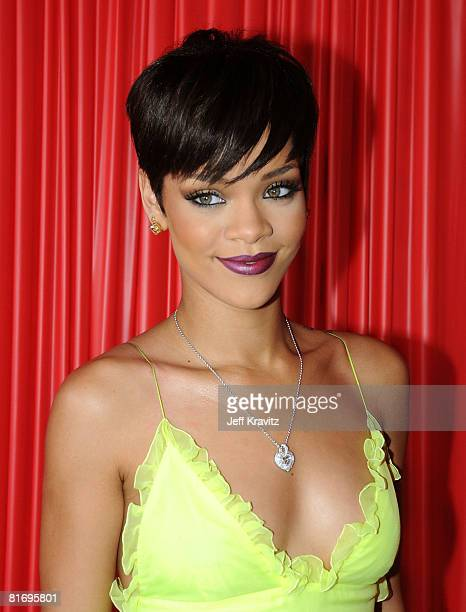 Singer Rihanna arrives at the 2008 BET Awards at the Shrine Auditorium on June 24 2008 in Los Angeles California
