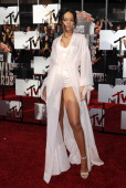 Singer Rihanna arrives at the 2014 MTV Movie Awards at Nokia Theatre LA Live on April 13 2014 in Los Angeles California