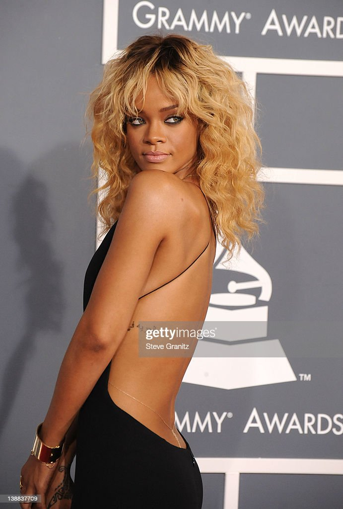 Singer Rihanna arrives at The 54th Annual GRAMMY Awards at Staples Center  on February 12,