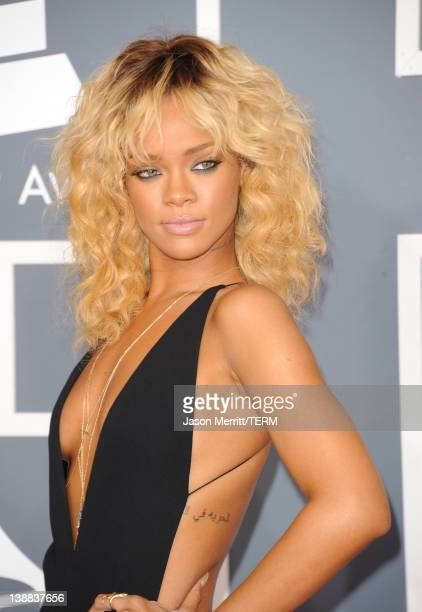 Singer Rihanna arrives at the 54th Annual GRAMMY Awards held at Staples Center on February 12 2012 in Los Angeles California