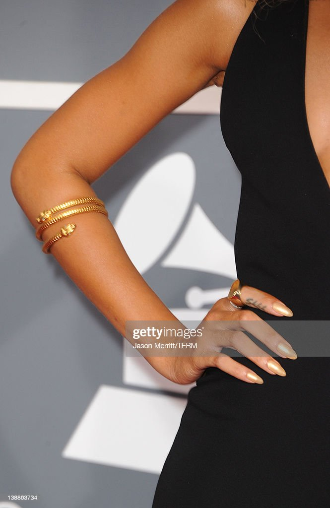 Singer Rihanna (jewelry detail) arrives at the 54th Annual GRAMMY Awards held at Staples Center on February 12, 2012 in Los Angeles, California.