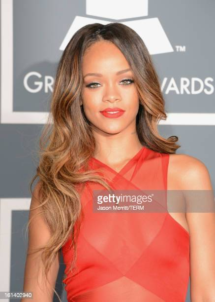 Singer Rihanna arrives at the 55th Annual GRAMMY Awards at Staples Center on February 10 2013 in Los Angeles California