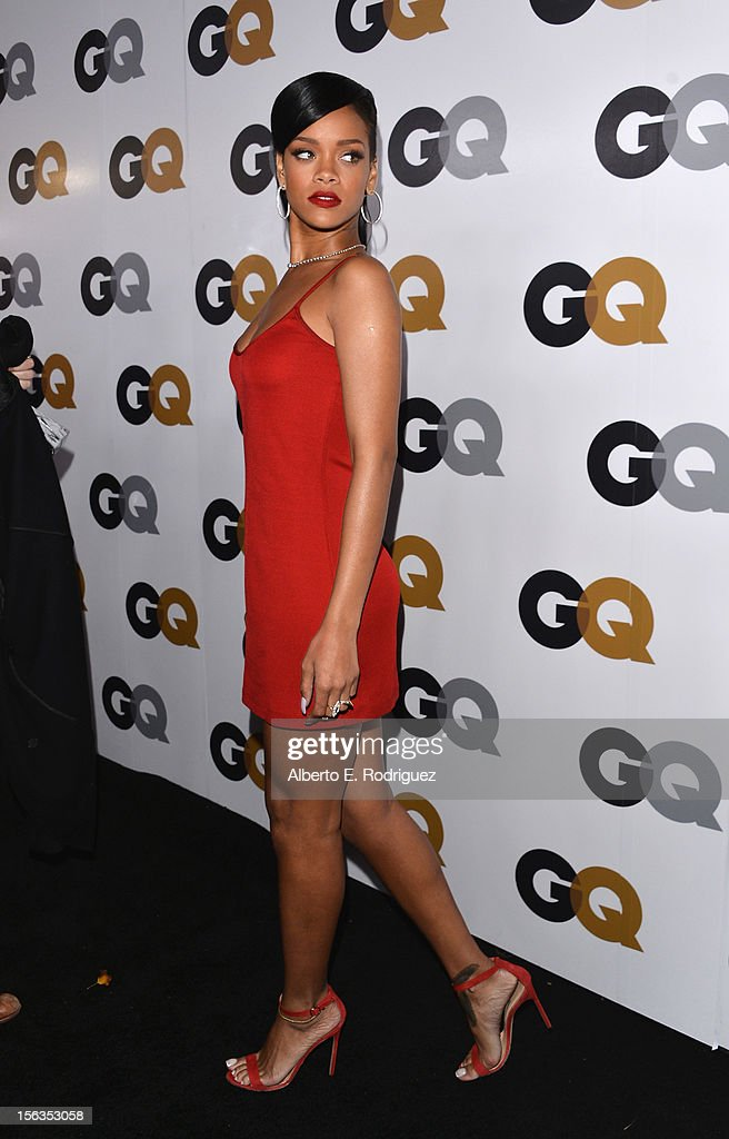 Singer Rihanna arrives at the GQ Men of the Year Party at Chateau Marmont on November 13, 2012 in Los Angeles, California.