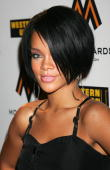 Singer Rhianna arrives at the MOBO Awards Launch at Movida on August 22 2007 in London England