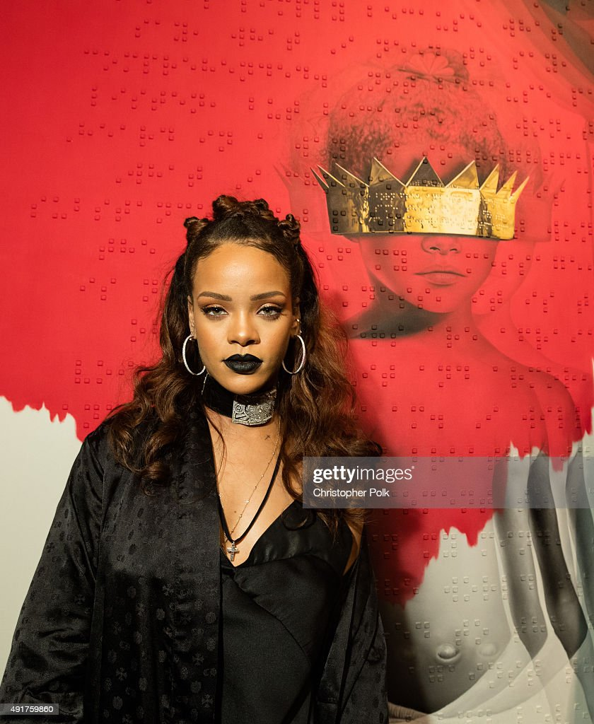Singer <a gi-track='captionPersonalityLinkClicked' href=/galleries/search?phrase=Rihanna&family=editorial&specificpeople=453439 ng-click='$event.stopPropagation()'>Rihanna</a> at <a gi-track='captionPersonalityLinkClicked' href=/galleries/search?phrase=Rihanna&family=editorial&specificpeople=453439 ng-click='$event.stopPropagation()'>Rihanna</a>'s 8th album artwork reveal for 'ANTI' at MAMA Gallery on October 7, 2015 in Los Angeles, California.