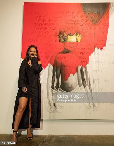 Singer Rihanna at Rihanna's 8th album artwork reveal for 'ANTI' at MAMA Gallery on October 7 2015 in Los Angeles California
