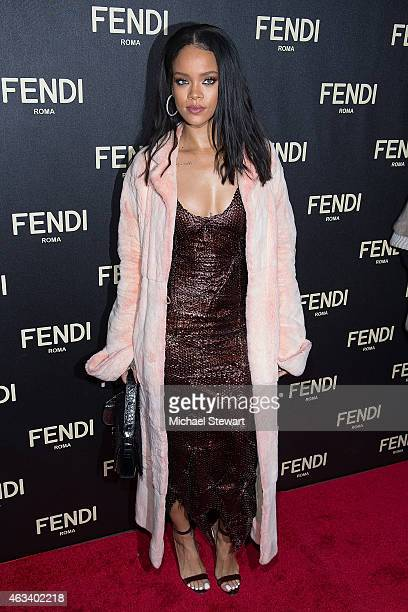 Singer Rihanna attends Fendi New York Flagship Boutique Inauguration party during MercedesBenz Fashion Week Fall 2015 at Fendi Madison Avenue on...
