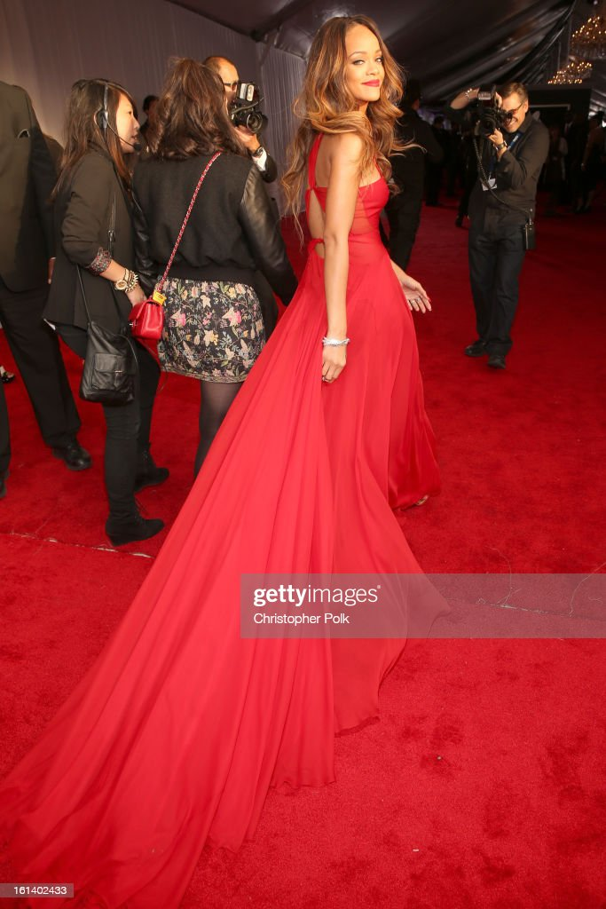 Singer <a gi-track='captionPersonalityLinkClicked' href=/galleries/search?phrase=Rihanna&family=editorial&specificpeople=453439 ng-click='$event.stopPropagation()'>Rihanna</a> attends the 55th Annual GRAMMY Awards at STAPLES Center on February 10, 2013 in Los Angeles, California.