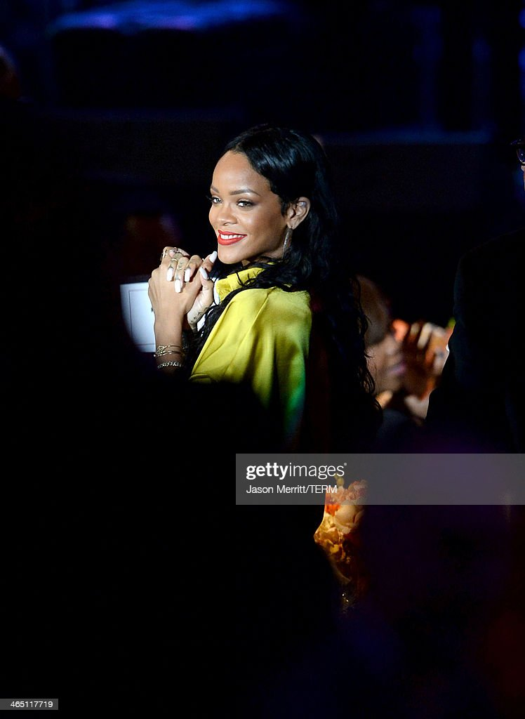 Singer Rihanna attends the 56th annual GRAMMY Awards Pre-GRAMMY Gala and Salute to Industry Icons honoring Lucian Grainge at The Beverly Hilton on January 25, 2014 in Los Angeles, California.