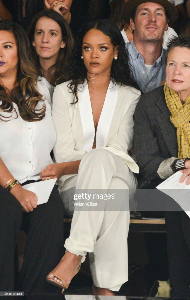 Singer Rihanna attends the Edun fashion show during MercedesBenz Fashion Week Spring 2015 at Skylight Modern on September 7 2014 in New York City