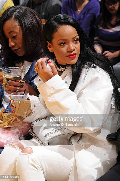 Singer Rihanna attends the Golden State Warriors game against the Los Angeles Lakers at STAPLES Center on March 06 2016 in Los Angeles California...