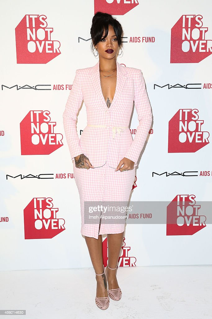 Singer Rihanna attends the premiere of 'It's Not Over' presented by MAC Cosmetics and MAC AIDS Fund at Quixote Studios on November 18 2014 in Los...