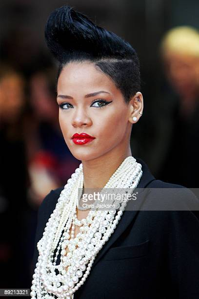 Singer Rihanna attends the UK film premiere of 'Inglourious Basterds' at the Odeon Leicester Square on July 23 2009 in London England
