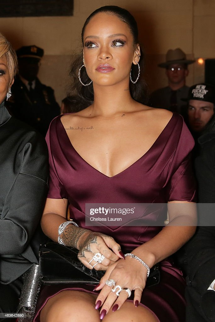 Singer Rihanna attends the Zac Posen fashion show at Vanderbilt Hall at Grand Central Terminal on February 16 2015 in New York City