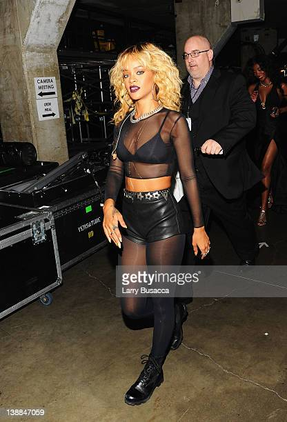 Singer Rihanna backstage at the 54th Annual GRAMMY Awards held at Staples Center on February 12 2012 in Los Angeles California