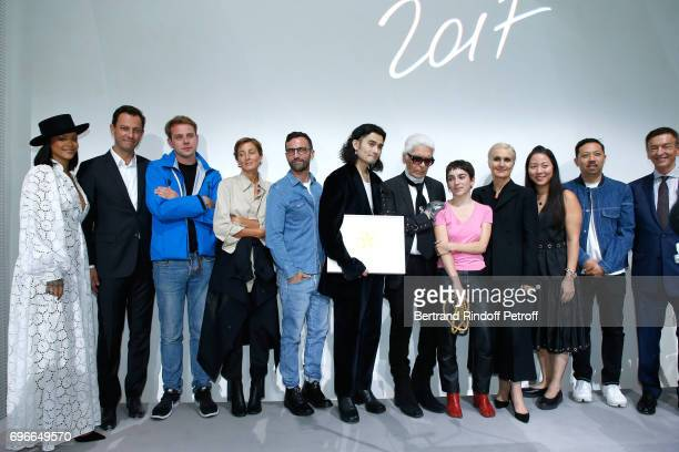 Singer Rihanna CEO of LVMH Fashion Group PierreYves Roussel Jury stylist JW Anderson stylist Phoebe Philo stylist Nicolas Ghesquiere Winner of the...