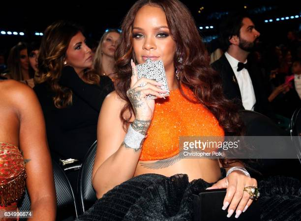 Singer Rihanna during The 59th GRAMMY Awards at STAPLES Center on February 12 2017 in Los Angeles California