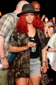 Singer Rihanna in the audience during Day 2 of the Coachella Valley Music Arts Festival 2011 held at the Empire Polo Club on April 16 2011 in Indio...