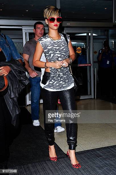Singer Rihanna is seen at John F Kennedy International Airport on September 23 2009 in New York City