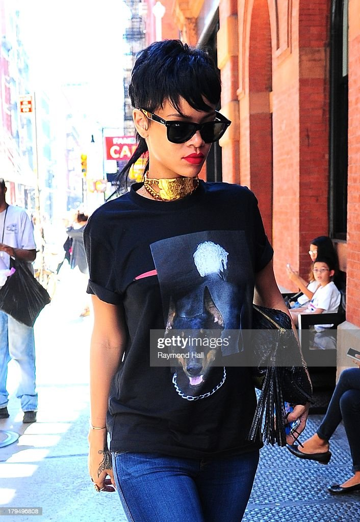 Singer Rihanna is seen in Soho on September 4, 2013 in New York City.