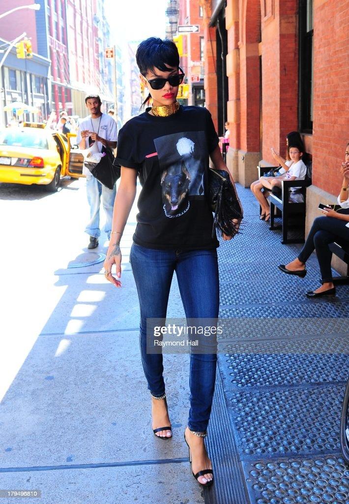 Singer Rihanna is seen in Soho on September 4, 2013 in New York City.