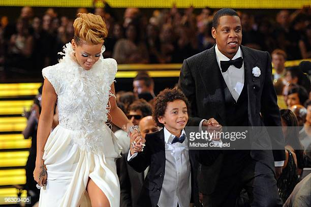 Singer Rihanna Juelz Knowles and rapper JayZ onstage at the 52nd Annual GRAMMY Awards held at Staples Center on January 31 2010 in Los Angeles...