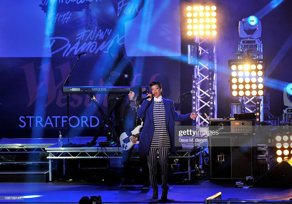 Singer <a gi-track='captionPersonalityLinkClicked' href=/galleries/search?phrase=Rihanna&family=editorial&specificpeople=453439 ng-click='$event.stopPropagation()'>Rihanna</a> performs after switching on the Christmas lights at Westfield Stratford City with young ambassadors from Save The Children, Westfield's chosen Christmas charity, on November 19, 2012 in London, England.