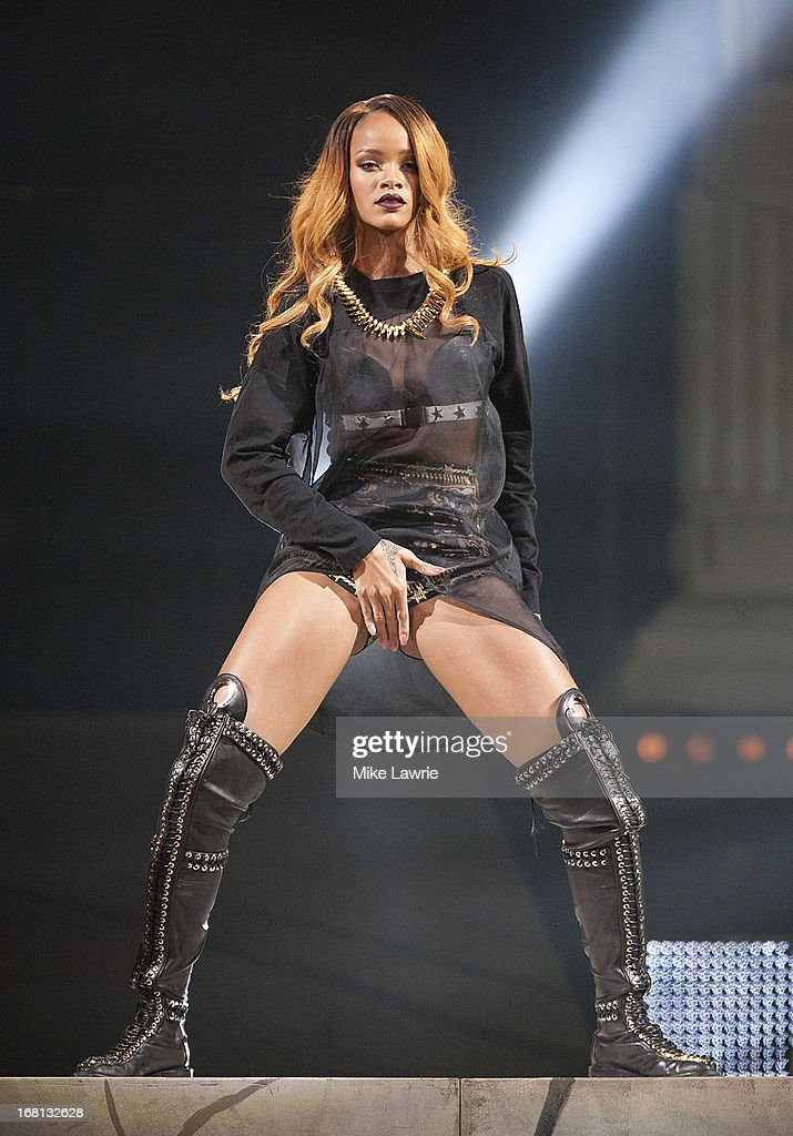 Singer Rihanna performs at Barclays Center on May 5, 2013 in the Brooklyn burough of New York City.