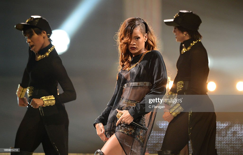 Singer Rihanna performs at HP Pavilion on April 6, 2013 in San Jose, California.