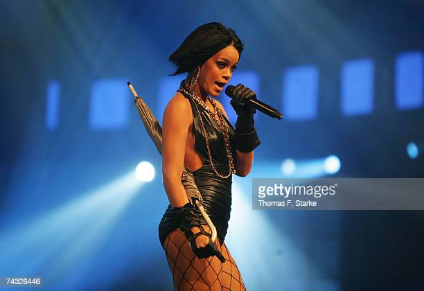 Singer Rihanna performs during 'The Dome 42' music show at the TUI Arena on May 25 2007 in Hanover Germany