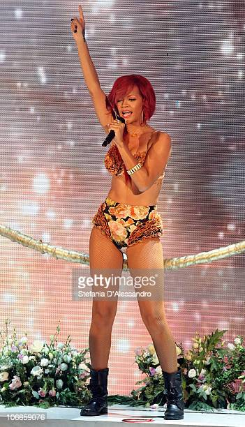 Singer Rihanna performs during 'X Factor' Italian TV Show held at Rai Studios on November 9 2010 in Milan Italy