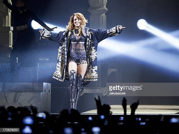 Singer Rihanna performs live during a concert at the O2 World on July 2 2013 in Berlin Germany