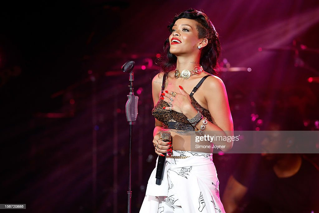 Singer <a gi-track='captionPersonalityLinkClicked' href=/galleries/search?phrase=Rihanna&family=editorial&specificpeople=453439 ng-click='$event.stopPropagation()'>Rihanna</a> performs live on stage as part of her 777 tour at The Forum on November 19, 2012 in London, England.