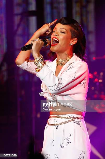 Singer Rihanna performs live on stage as part of her 777 tour at The Forum on November 19 2012 in London England
