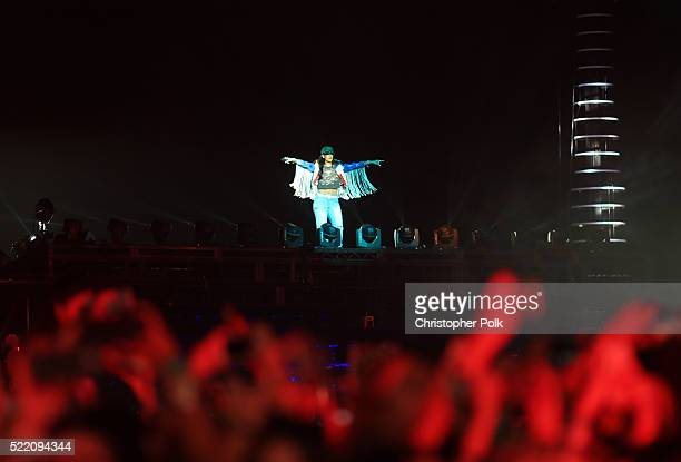 Singer Rihanna performs on day 3 of the 2016 Coachella Valley Music Arts Festival Weekend 1 at the Empire Polo Club on April 17 2016 in Indio...