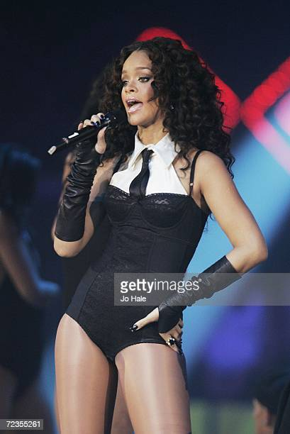 Singer Rihanna performs on stage at the 13th annual MTV Europe Music Awards 2006 at the Bella Center on November 2 2006 in Copenhagen Denmark