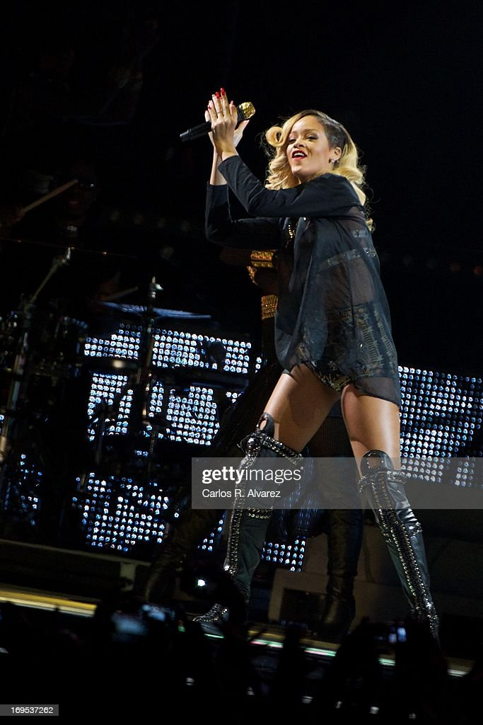 Singer Rihanna performs on stage at the BEC (Bilbao Exhibition Center) on May 26, 2013 in Bilbao, Spain.