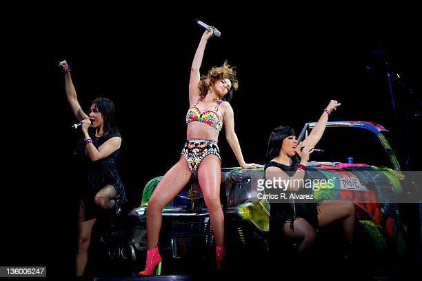 Singer Rihanna performs on stage at the Palacio de los Deportes stadium on December 15 2011 in Madrid Spain